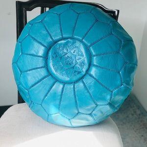Bleu Moroccan handmade Bohemian leather ottoman